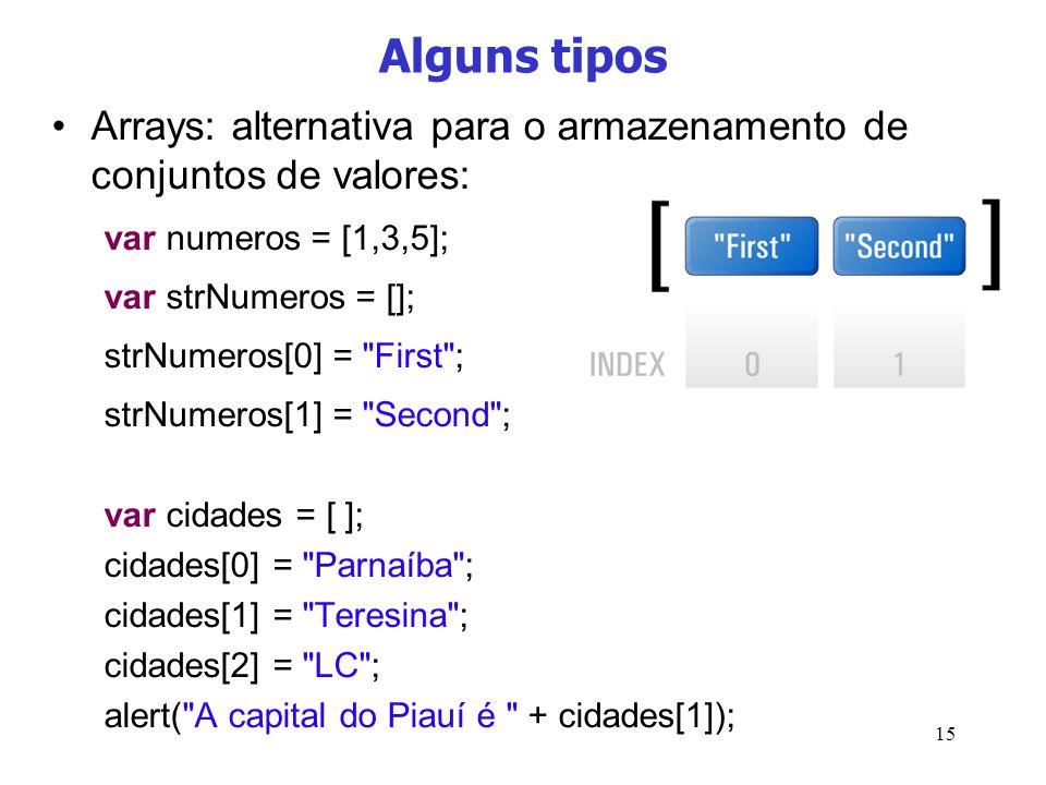 Alguns tipos Arrays: alternativa para o armazenamento de conjuntos de valores: var numeros = [1,3,5];